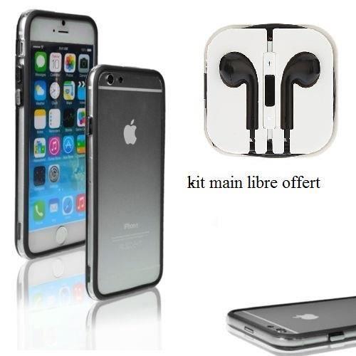 bumper iphone 6 noir et transparent kit main libre couteur offert achat coque bumper pas. Black Bedroom Furniture Sets. Home Design Ideas