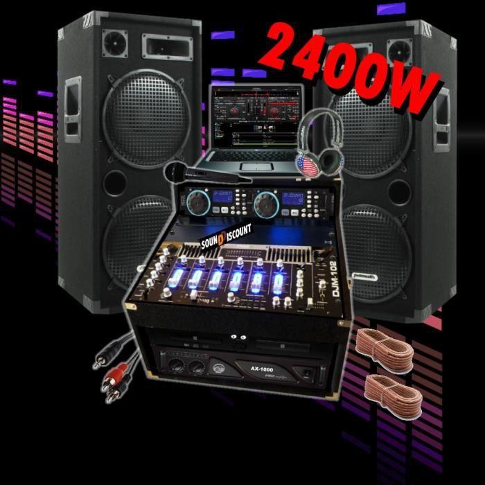 sono 2400w double cd ampli enceintes mixage pack. Black Bedroom Furniture Sets. Home Design Ideas