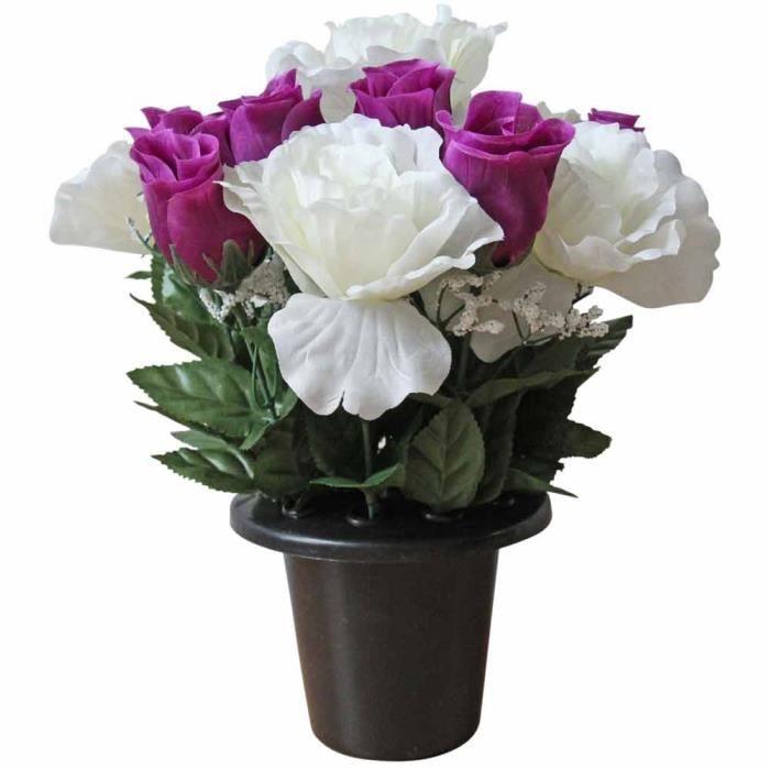 Composition florale roses artificielles blanc violet for Roses artificielles