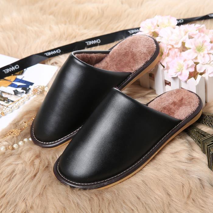 shina pantoufle homme femme chausson cuir pu noir chambre. Black Bedroom Furniture Sets. Home Design Ideas