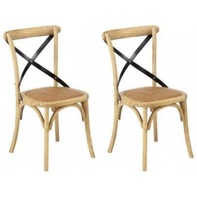 Lot de 2 chaises liane bois m tal et assise achat for Soldes chaises bois