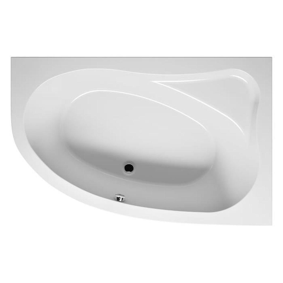 Baignoire acrylique riho d 39 angle gauche lyra 140x90 cm achat vente ba - Marque baignoire balneo ...