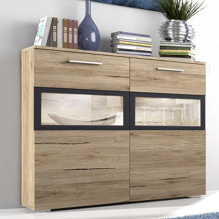 buffet haut couleur ch ne clair et gris contemporain rita avec clairage achat vente buffet. Black Bedroom Furniture Sets. Home Design Ideas