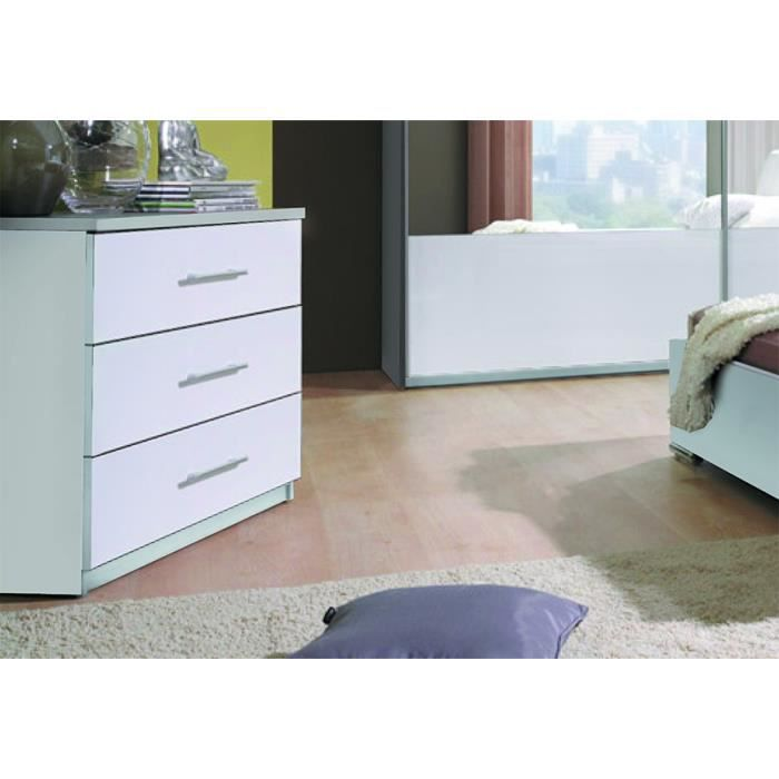 Commode design verona 3 tiroirs blancs laqu s meuble pour for Commode chambre adulte design