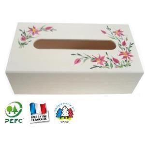 Bo te mouchoirs en bois peint la main achat vente for Decorer une boite a mouchoirs en bois