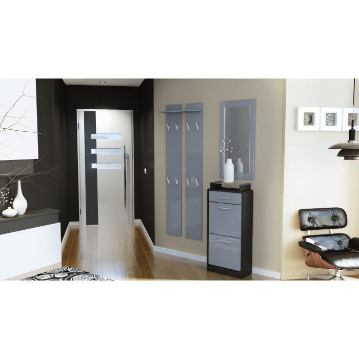 vestiaire d entr e noir et gris 195 cm achat vente meuble d 39 entr e vestiaire d entr e noir. Black Bedroom Furniture Sets. Home Design Ideas