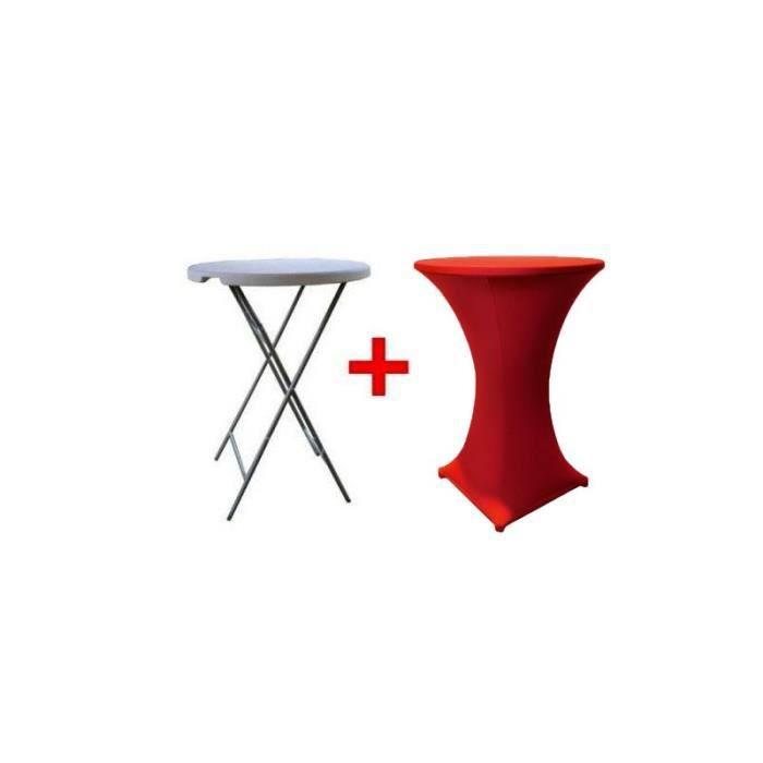 Table haute bar pliante mange debout housse rouge - Table haute bar pliante ...