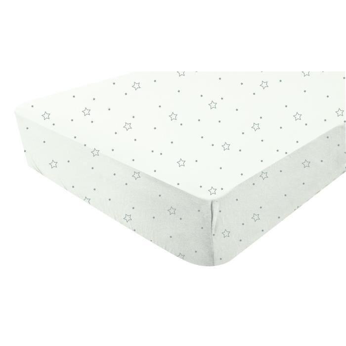 Doux nid drap housse blanc imprim etoiles grises 70x140 for Drap housse 70x140