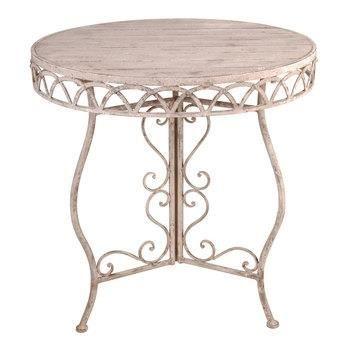 Table ronde m tal patin et bois 76 x 76 x 77 c achat vente table de jardin table ronde - Table jardin metal ronde brest ...