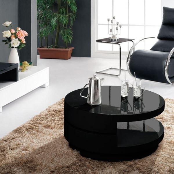 Table basse cecilia laqu e ronde noir achat vente for Petite table basse noire