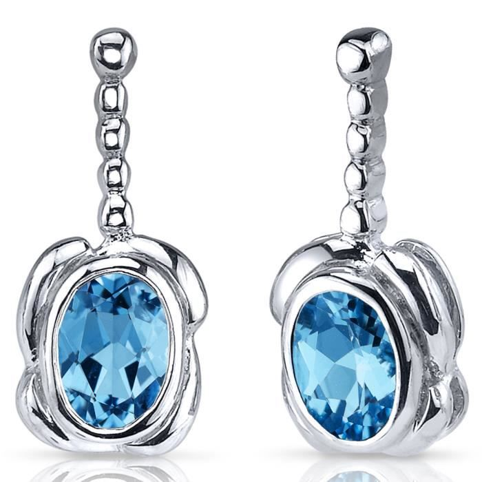 Boucles d'oreille - femme -argent- topaze bleue - revoni - boucles d