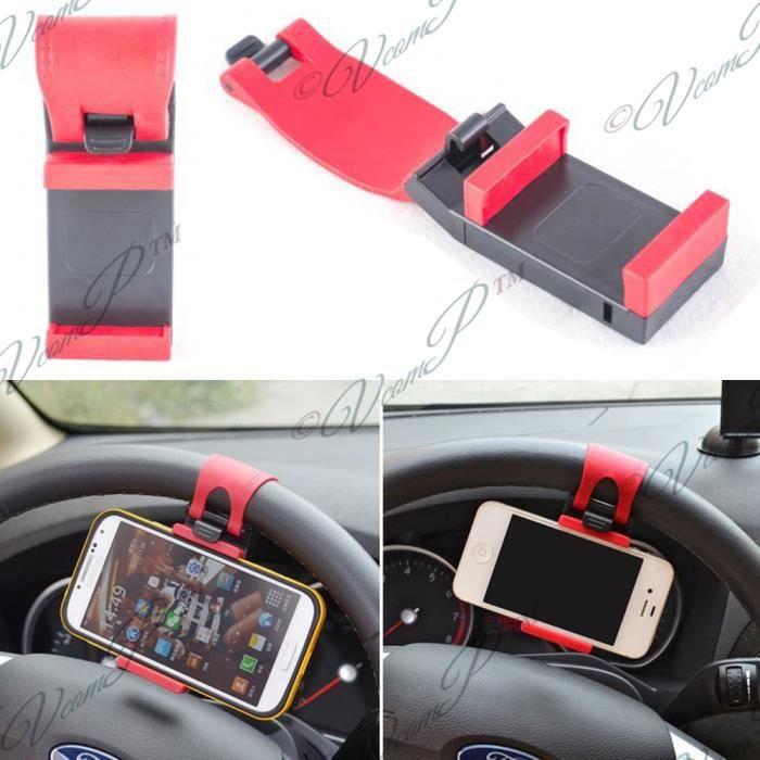 support voiture universel avec attache volant pour smartphones ayant largeur 5 5 7 8 cm noir. Black Bedroom Furniture Sets. Home Design Ideas