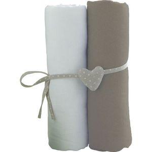 DRAP HOUSSE MATELAS BABYCALIN Lot de 2 draps housse blanc/taupe - 60x1