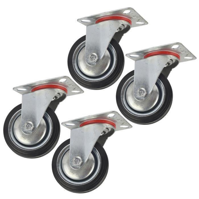 3 75mm roulette pivotante caoutchouc chariot roues de roulette de meuble lot de 4 achat. Black Bedroom Furniture Sets. Home Design Ideas