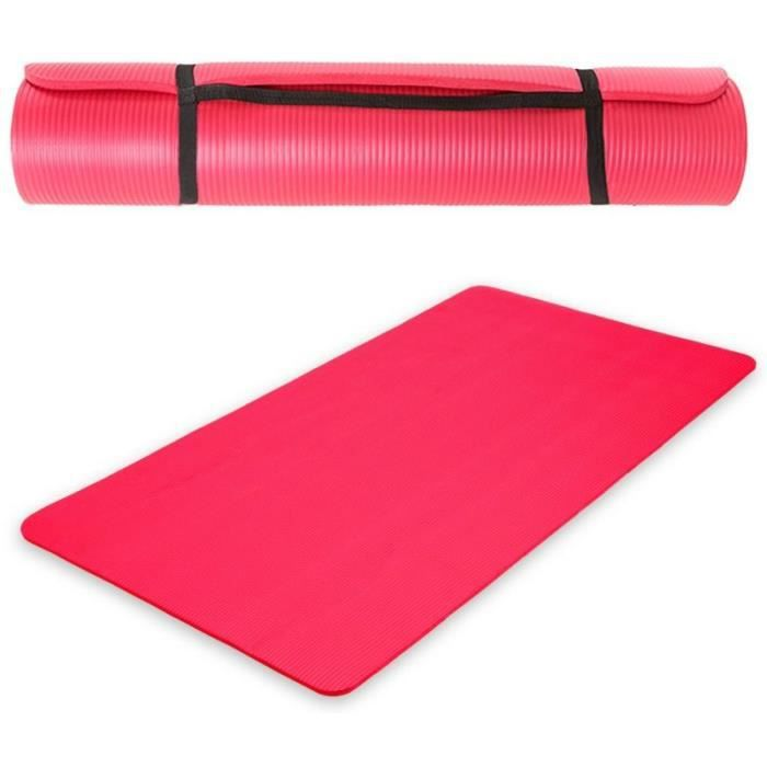 tapis de yoga fitness gymnastique pais rouge 190x100x1 5cm 0708006 prix pas cher cdiscount