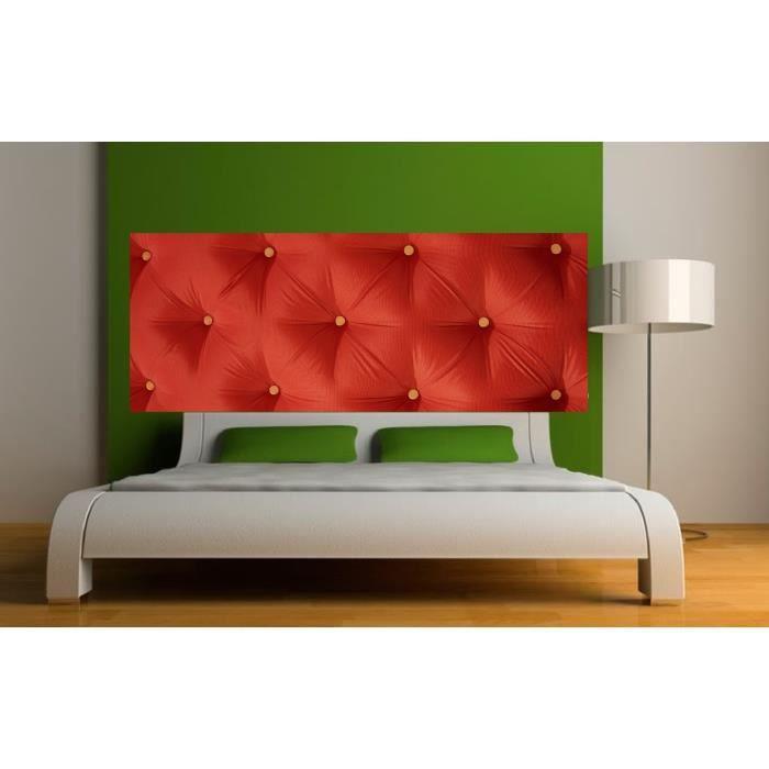 Stickers t te de lit d co effet capitonn rouge dimensions 160x62cm achat - Stickers porte capitonne ...