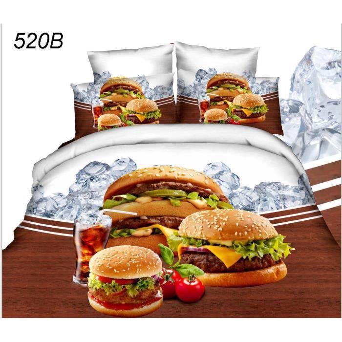 parure 3d burger achat vente pack linge de lit soldes cdiscount. Black Bedroom Furniture Sets. Home Design Ideas