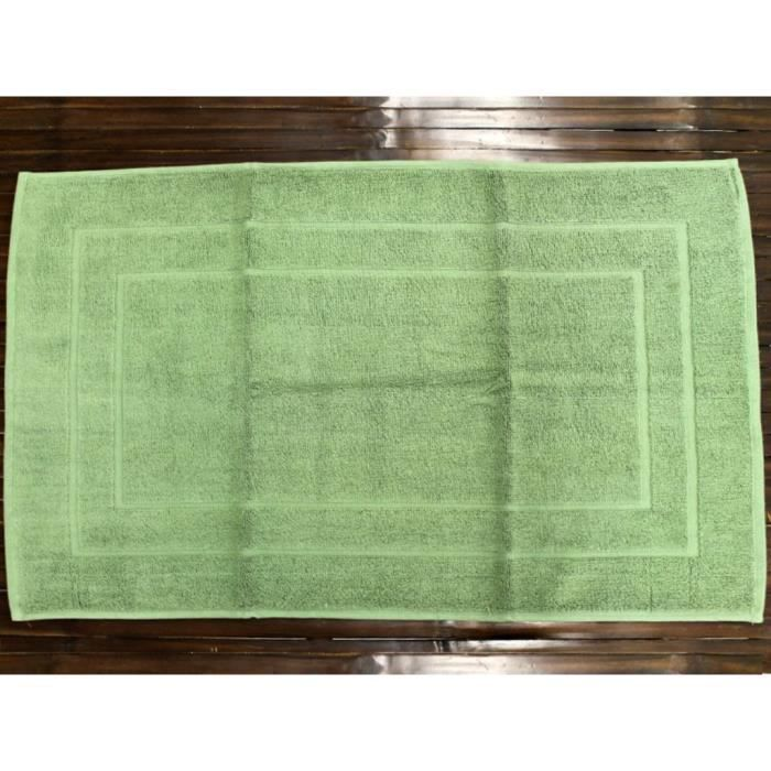 Tapis De Bain Luxe Uni 100 Coton Vert Achat Vente Tapis De Bain Cdiscount