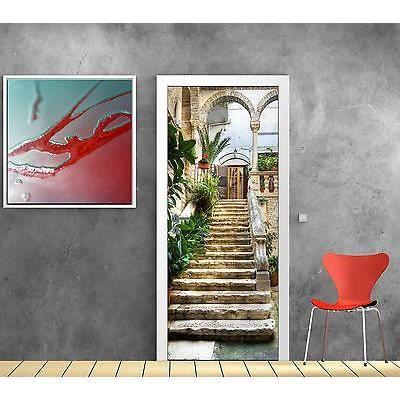 stickers pour porte trompe l oeil d co escalier r f 766 dimensions 73x204cm achat vente. Black Bedroom Furniture Sets. Home Design Ideas