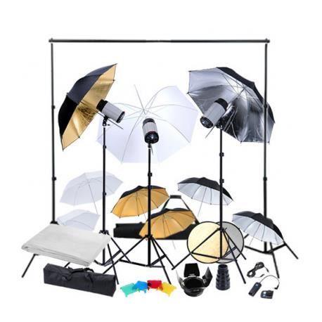 kit photo 3 flashes 9 parapluies fond accessoires achat vente kit studio photo cdiscount. Black Bedroom Furniture Sets. Home Design Ideas