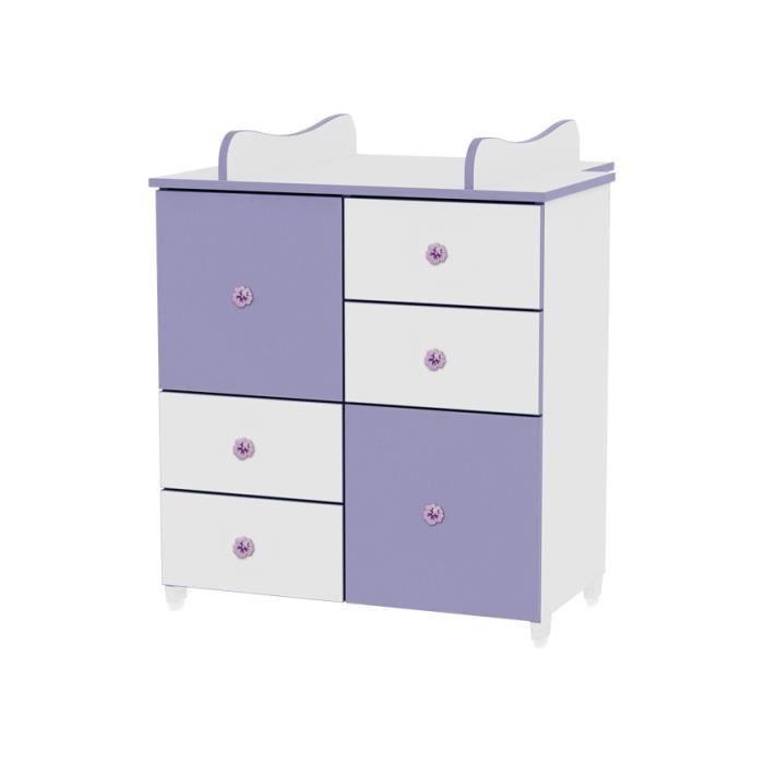 Commode de langer pour chambre b b enfant violet achat vente commode b - Commode bebe cdiscount ...