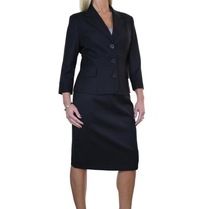 ice 6467 1 tailleur jupe crayon de bureau manches enti rement doubl noir noir achat. Black Bedroom Furniture Sets. Home Design Ideas