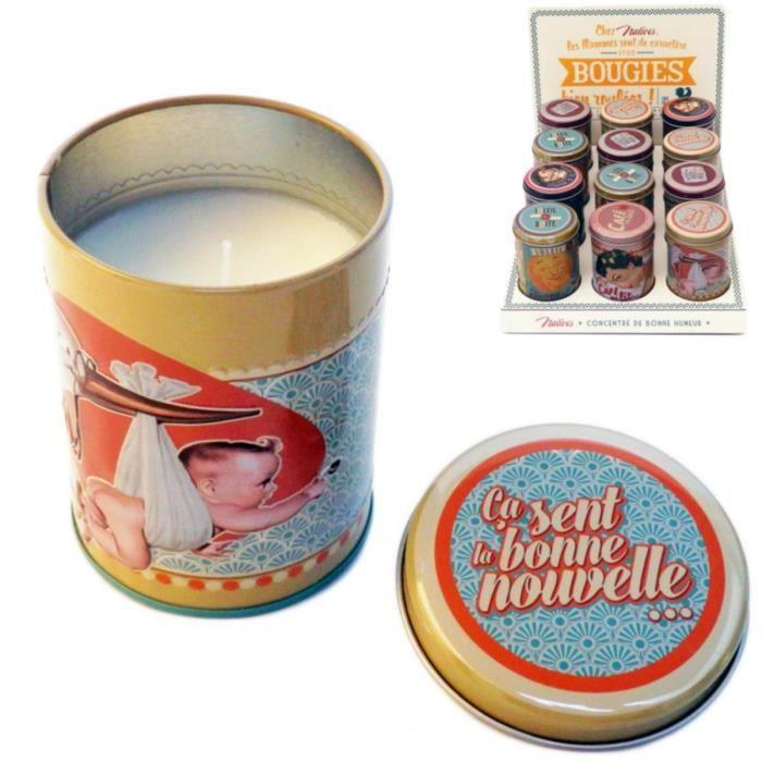 Bougie parfum e bonne nouvelle parfum fleur d 39 oranger dans bo te en m tal id e cadeau original - Idee cadeau nouvelle maison ...