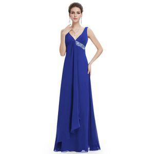 ROBE DE CÉRÉMONIE Robe de Soirée Longue Empire Bleu Saphir Pailleté