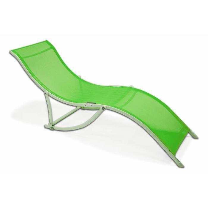 transat pliable vert bain de soleil achat vente chaise. Black Bedroom Furniture Sets. Home Design Ideas
