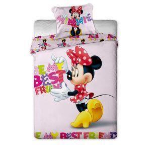 parure de lit minnie mouse letters 140x200 cm achat vente parure de drap cdiscount. Black Bedroom Furniture Sets. Home Design Ideas