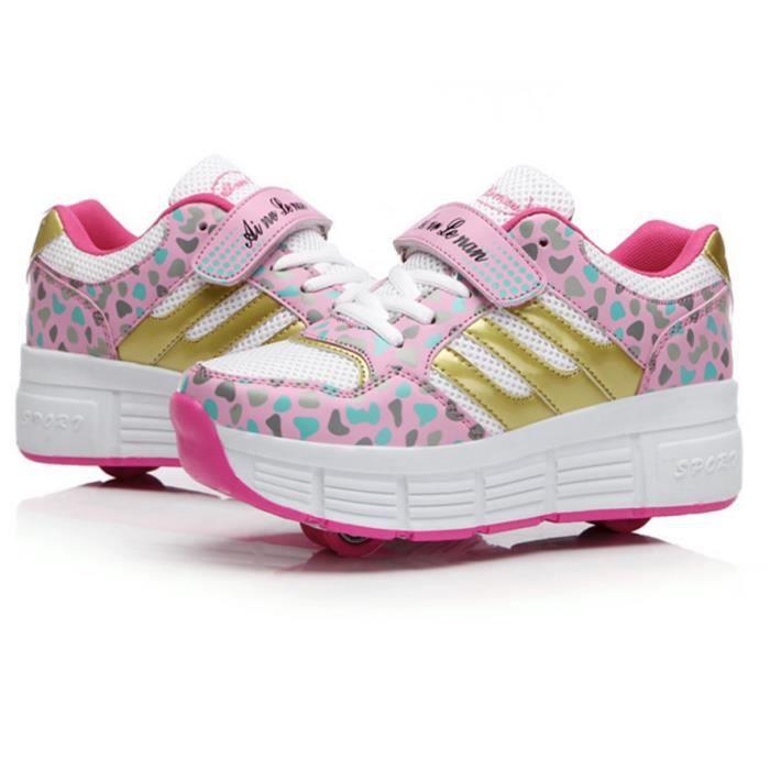 double chaussures roulettes pour les enfants rose achat vente chaussure toning cdiscount. Black Bedroom Furniture Sets. Home Design Ideas