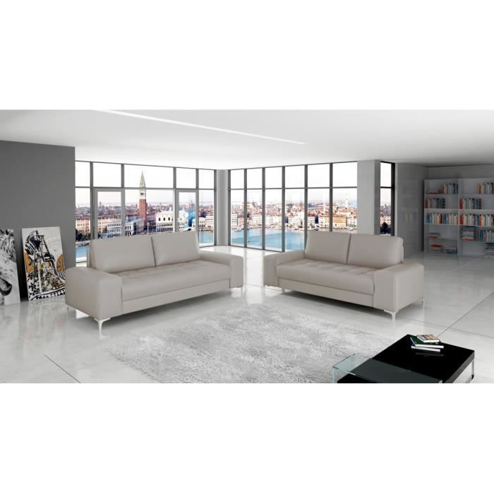 Salon 3 2 places antibes cuir pu taupe achat vente for Salon d antibes