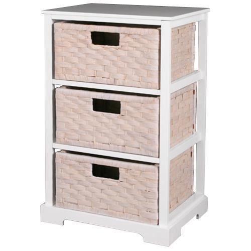 Miami meuble de rangement 3 paniers blanc achat - Meuble rangement cdiscount ...