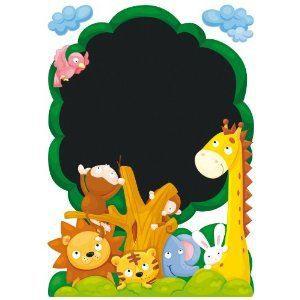 Ardoise tableau murale jungle decoration enfant achat - Tableau ardoise murale ...