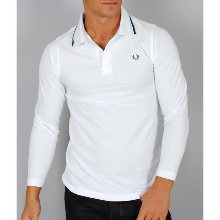 fred perry polo homme blanc manches longues blanc blanche. Black Bedroom Furniture Sets. Home Design Ideas