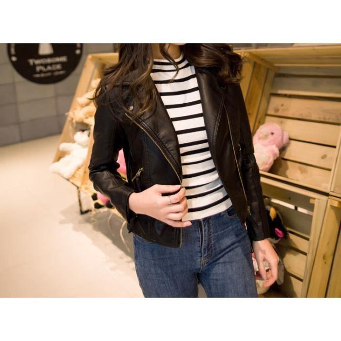 veste blouson femme moto bomber jacket courte en cuir pu. Black Bedroom Furniture Sets. Home Design Ideas