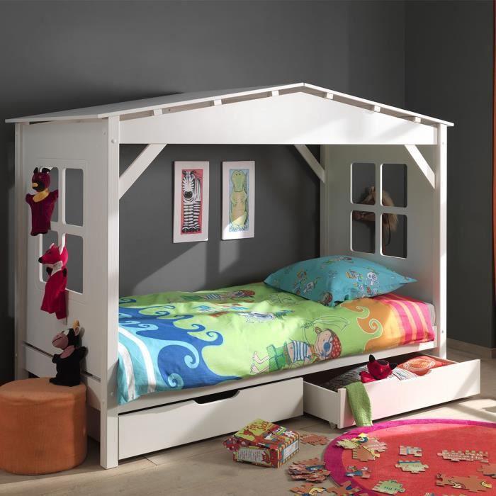 paris prix lit enfant cabane home 2 tiroirs de lit blanc achat vente structure de lit. Black Bedroom Furniture Sets. Home Design Ideas