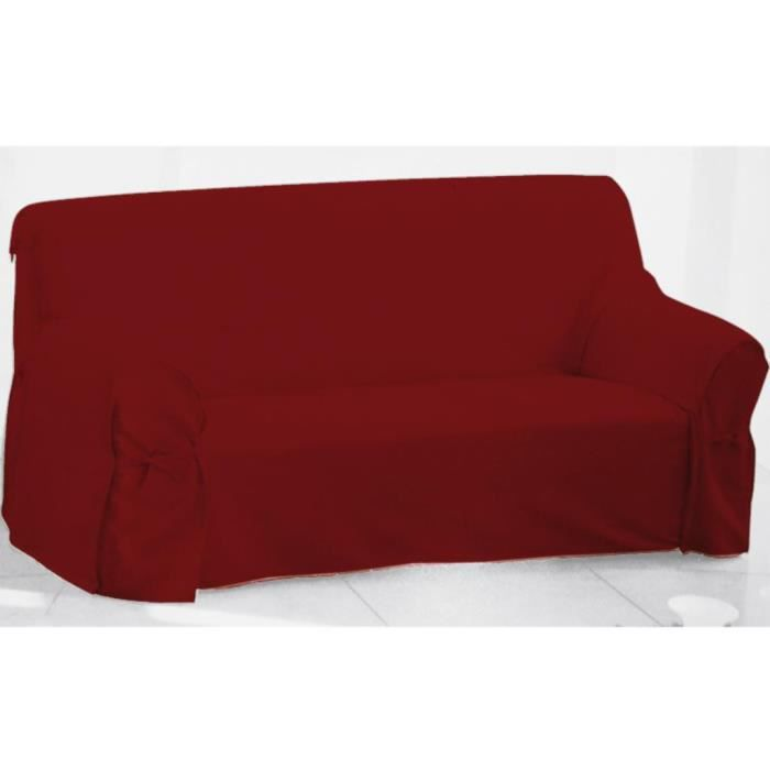 Housse de canap en coton panama rouge achat vente housse de canape le - Housse de canape grise ...