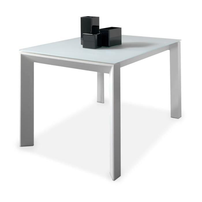 table de repas allonge plateau verre givr blanc mista achat vente table a manger seule. Black Bedroom Furniture Sets. Home Design Ideas