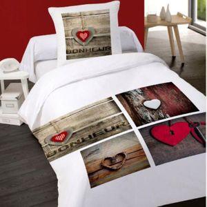 housse de couette le bonheur achat vente housse de couette le bonheur pas cher soldes. Black Bedroom Furniture Sets. Home Design Ideas