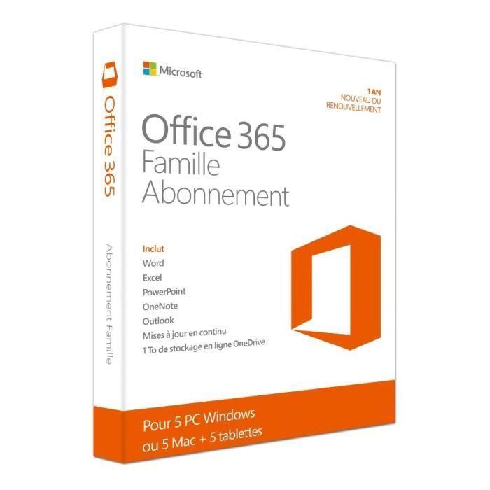 LOGICIEL BUREAUTIQUE  Office 365 Famille 5 PC/Mac Abonnement 1an
