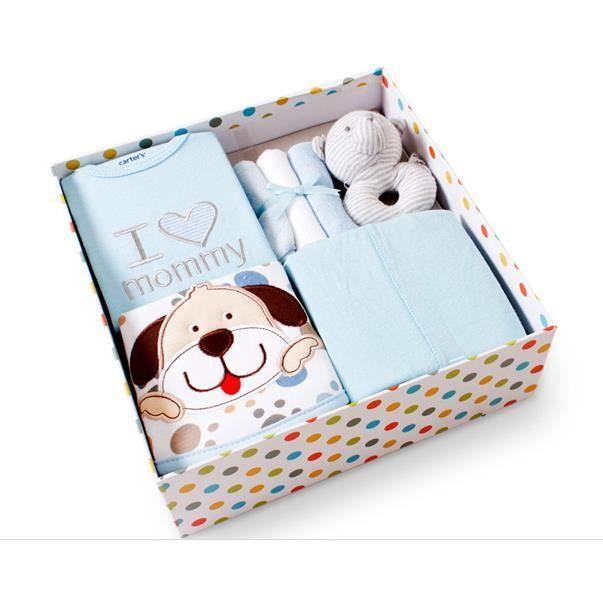 ensemble de 7 pi ces coffret cadeau naissance comme b b 0 6 mois bleu bleu achat vente. Black Bedroom Furniture Sets. Home Design Ideas
