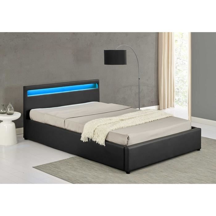 otis lit gris a led 140x190 cm achat vente structure de lit otis lit gris a led 140x190. Black Bedroom Furniture Sets. Home Design Ideas