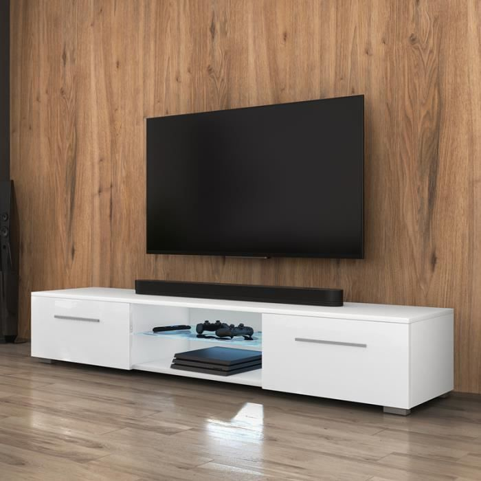 meuble tv edith blanc mat blanc brillant achat vente meuble tv meuble tv edith cdiscount. Black Bedroom Furniture Sets. Home Design Ideas