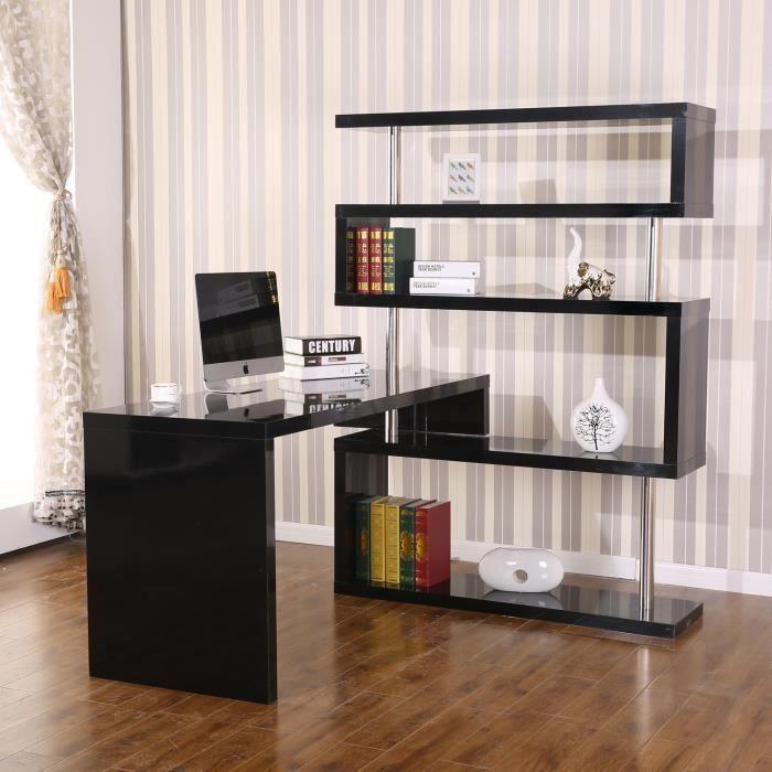 table ordinateur table de bar bureau biblioth que adjacente pivotante 1 360 avec tag res multi. Black Bedroom Furniture Sets. Home Design Ideas