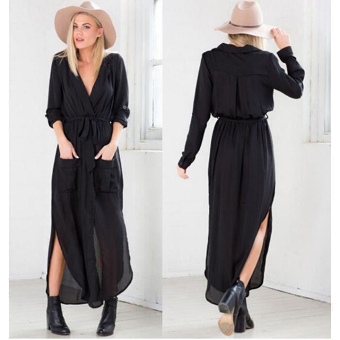 2016 nouveau femme robe longue chemisier robe e noir. Black Bedroom Furniture Sets. Home Design Ideas