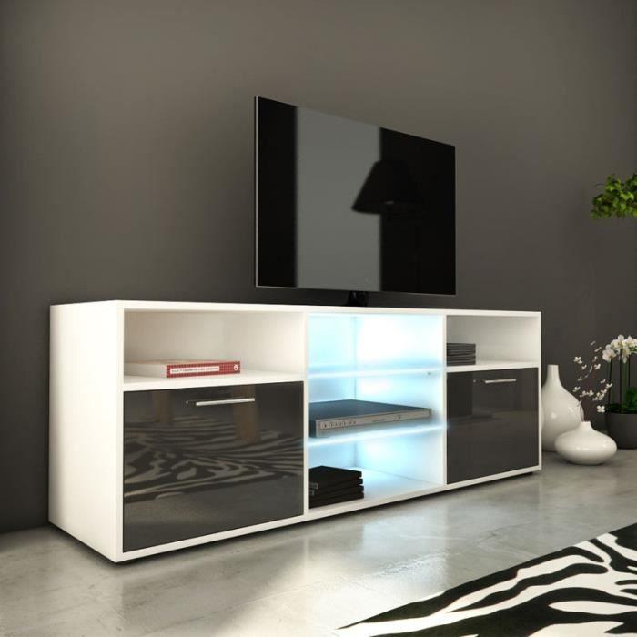 meuble tv 150 cm gris 2 portes 5 niches led 39 s rika. Black Bedroom Furniture Sets. Home Design Ideas