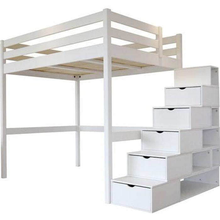 Lit mezzanine sylvia avec escalier cube bois achat vente lit mezzanine - Lit mezzanine 140x190 bois ...