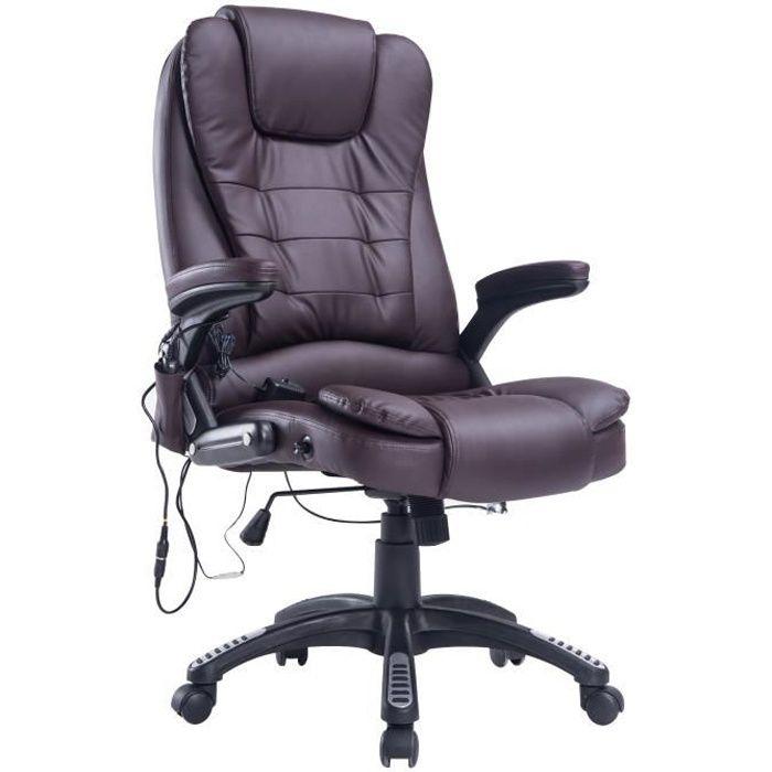 Fauteuil de bureau massant baly marron myco00957 achat vente chaise de - Fauteuil bureau massant ...