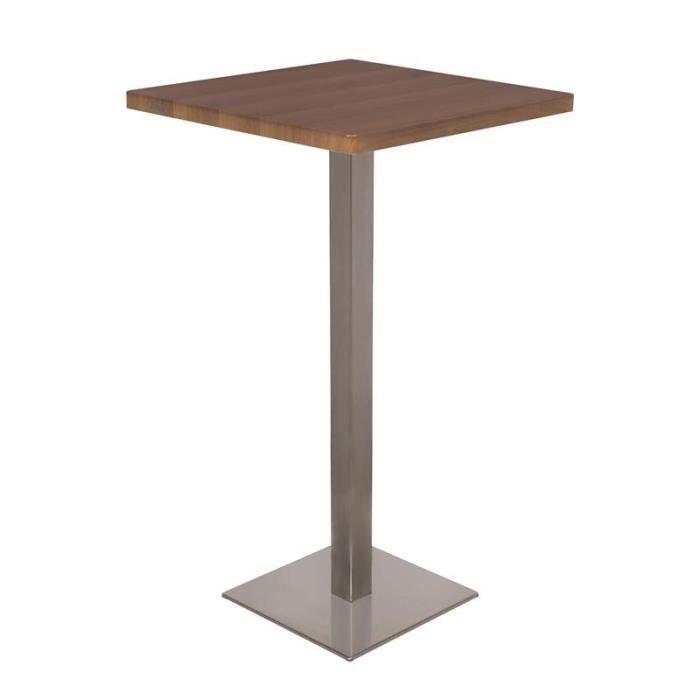 Table de bar table bistrot en mdf aspect bois de noyer for Table exterieur 120x60